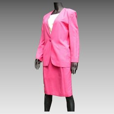 HALF PRICE SALE:  Vintage 1980s Fabulous Hot Pink Designer Christian Dior Misses' Suit