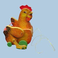Vintage 1966 Fisher-Price Cackling Hen Pull Toy