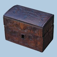 "Antique Chip-Carved Wooden Small ""Treasure Chest"" Dresser Box"