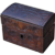 """Antique Chip-Carved Wooden Small """"Treasure Chest"""" Dresser Box"""