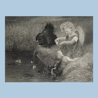 """""""Maternal Alarm"""" Endearing  Small Steel Engraving Child with Hen and Ducklings Antique Victorian Era"""
