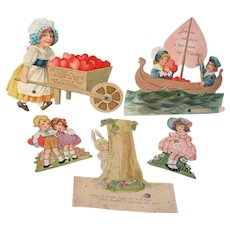 LAST MINUTE MARKDOWN - Group of FOUR 1920s Motion & Stand-Up Valentine's Day, plus 1 Easter Cards