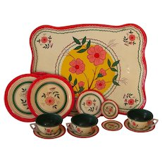 Vintage 1940s-1950s Ohio Art Lithographed Floral Tin Tray, Plates & Tea Cups and Saucers Partial Set
