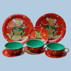 Vintage 1940s - Early 1950s Ohio Art Lithographed Tin Skaters Dutch Winter Tea Set Pieces
