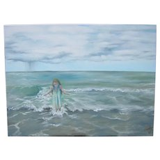 Impressionist Oil Painting 'Girl in the Water' ART by Josty