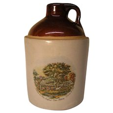 Vintage USA Jug with Currier & Ives New England Scene