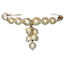 Cultured Pearl Safety Style Collar Pin