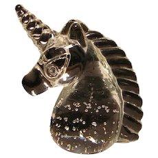 Glass Unicorn Paperweight