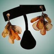 Vintage Earrings with Briolette Plastic Dangles