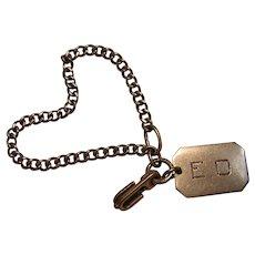 Sterling Silver Watch Fob Art Deco Style E.D. or E.O.