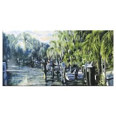 Impressionist Oil Painting 'Boats in Canal' ART by Josty