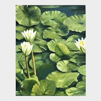 Impressionist Oil Painting 'Water Lilies' ART by Josty