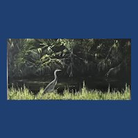 Impressionist Oil Painting 'Grey Heron' ART by Josty