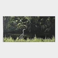Impressionist Oil Painting 'Grey Heron' ART by Josty