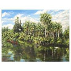 Impressionist Oil Painting 'Senator Bob Johnson's Landing' ART by Josty