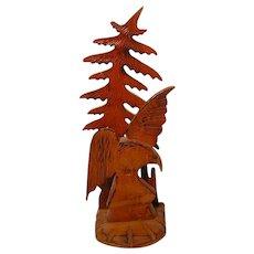 Vintage Folk Carved Wood Eagle