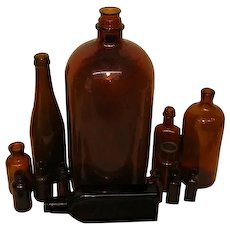 Vintage Brown Glass Bottle Collection