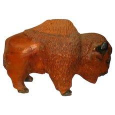 Vintage Carved Cedar Buffalo signed Gibbs