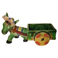 Vintage Planter Miniature Donkey with Cart