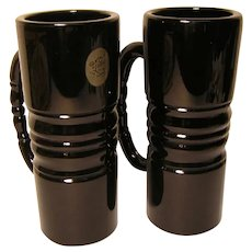 Vintage 'A Tiara Exclusive' Heavy Black Glass Irish Coffee Style Mugs