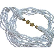 Vintage White Glass Beaded Necklace Multi-strand