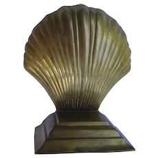 Vintage Early Mid-century Brass Shell Bookends