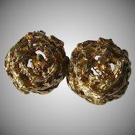 Vintage 14k / 585 Gold Stylized Rose Clip Earrings