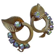 Vintage Aurora Borealis Rhinestone Earrings