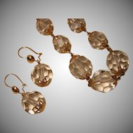 Vintage Faceted Crystal Necklace and Earring Set