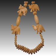 Vintage Carved Bone Necklace with Elephants