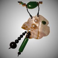 Art by Josty Collage Necklace and Earring Set  'Fantasy Fish'