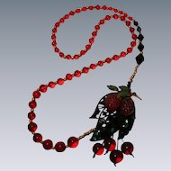 Collage Necklace 'Luscious Fruit' Art by Josty