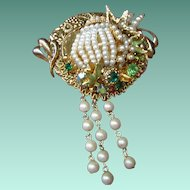 Art by Josty Collage Brooch  'Pearl Splendor Cake'