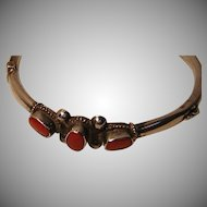 Vintage 925 Sterling Silver Bangle Bracelet with Coral