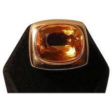 Vintage Large 14k / 585 Gold and Citrine Ring