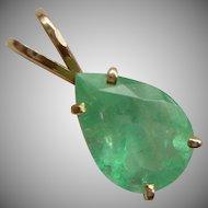 Beautiful Pear Shape Columbian Emerald Pendant set in 14k Gold