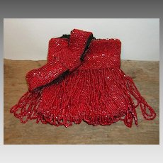 Vintage Red Beaded Flapper Purse