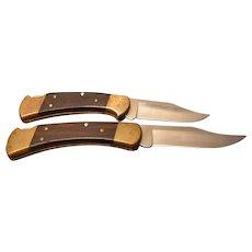 Vintage 1988 Single Blade Folding Buck Knives Models 110 and 112