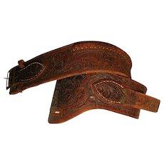 Vintage Tooled Leather Belt for a Gun Holster