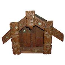 Vintage Tiki Hut Style Box with Shell Inlay