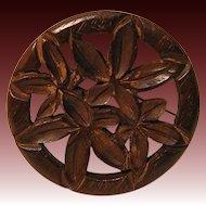 Vintage Carved Wood Brooch