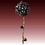 Vintage Black Aurora Borealis Long Stem Flower Brooch