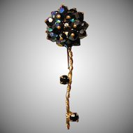 Vintage Black Aurora Borealis Long Stem Flower Brooch