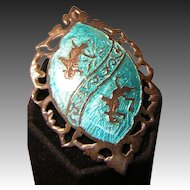 Vintage Sterling Silver Pin with Enameling