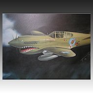 Pilot Autographed 'Tiger with a Tale' by Mike Machat Aviation Print