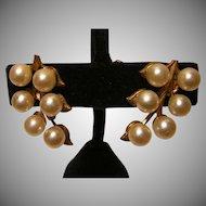 Vintage Faux Pearl Screw-back Earrings