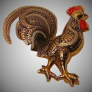 Vintage Damascene Style Rooster Pin / Brooch