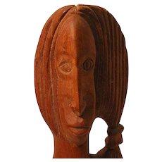 Vintage Folk Art Carved Wooden Bust of a Woman signed Uralda Brown