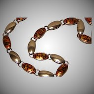 Vintage Italian Sterling Silver Necklace 36.3 Grams with Tiger Pattern Enameling