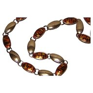Vintage Italian Sterling Silver Necklace with Tiger Pattern Enameling